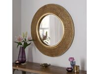Rome Large Round Wall Mirror Modern Gold Frame Deco Studded