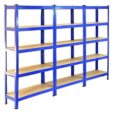 3 Garage Shelving Racking Heavy Duty Steel Boltless Warehouse Unit 5 Tier 75cm