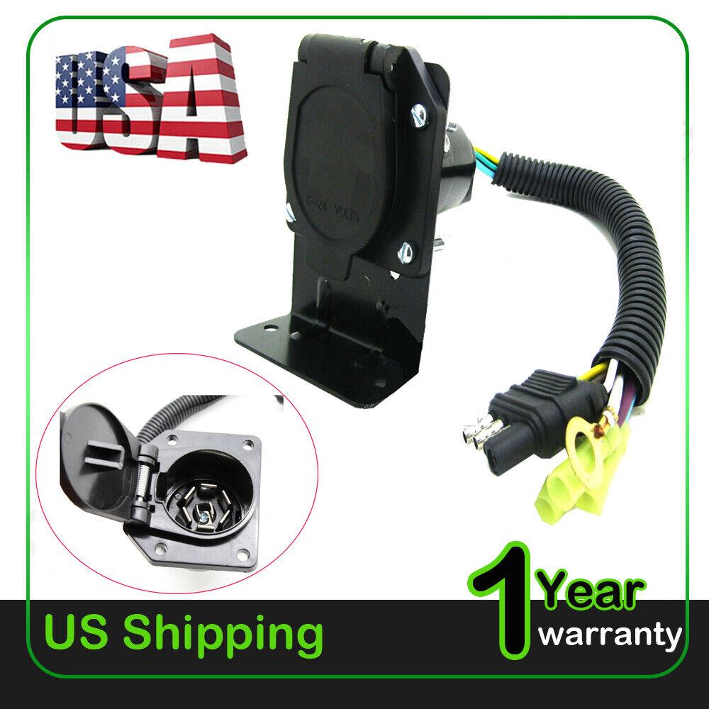 4 Flat To 7 Way Rv Trailer Light Plug Wire Harness
