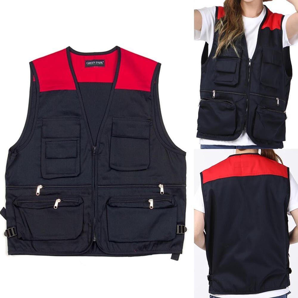 Mens Multi Pocket Workwear Warm Padded Bodywarmer Gilet Outdoors Fishing Hiking