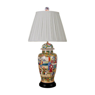 """Oriental Chinese Porcelain Rose Canton Temple Jar Table Lamp 32"""""""