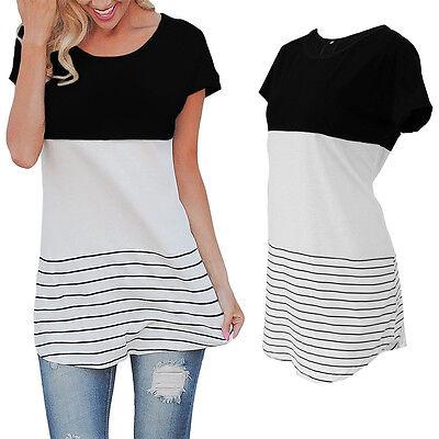 Fashion Women Color Block Loose Tops Casual Blouse T-Shirts Short Sleeve Tee US Block Short Sleeve Tee