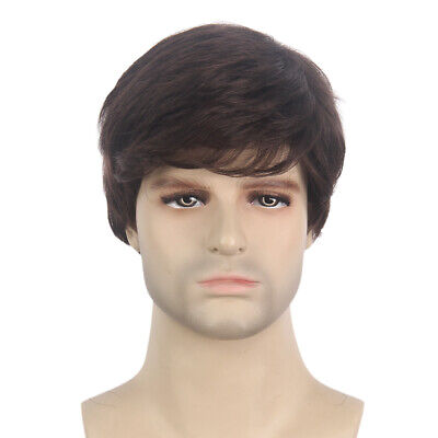 Short Brown Halloween Wig (Mens Wig Natural Brown Male Short Layered Cosplay Halloween Synthetic Hair)