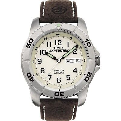 Mens Timex Indiglo Expedition Brown Leather Band Cream Dial Date Watch T46681