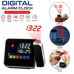 LED Projection Digital Alarm Time Clock Snooze Weather Thermometer Backlight