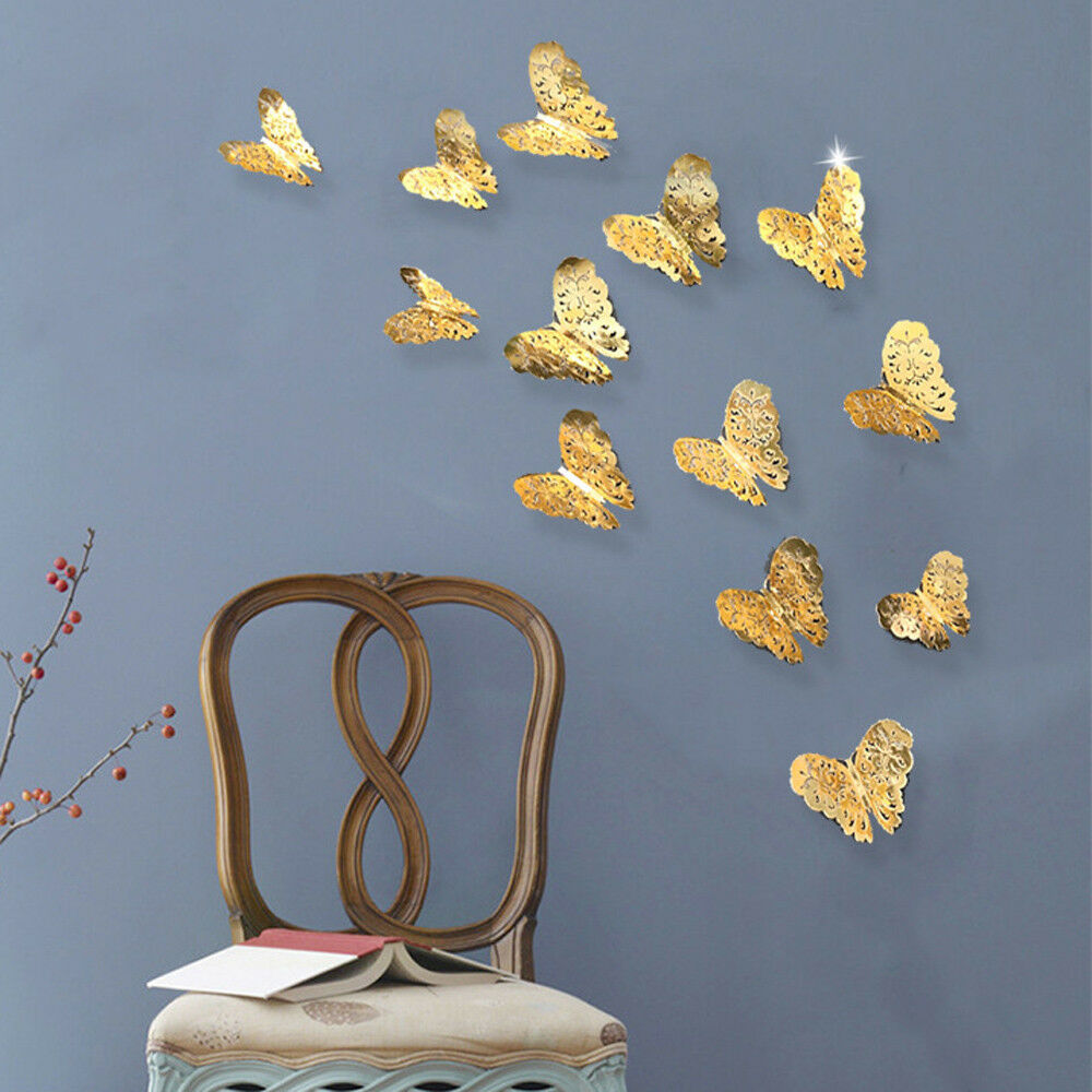Home Decoration - 12 Pcs 3D Hollow Thick Paper Wall Stickers Butterfly Fridge for Home Decoration
