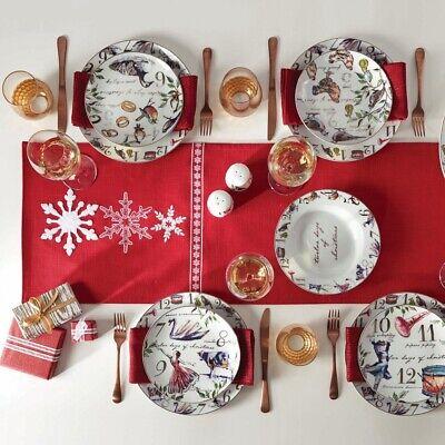 Holiday Dinnerware Set 12 Days of Christmas Dish Dinner Salad Plates Pasta Bowls Christmas Holiday Dinnerware