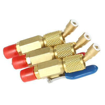 3pcs Coded R410a R134a Shut Valves For Ac Hvac Refrigeration Charging Hoses