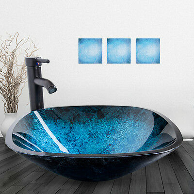 Square Bathroom Glass Vessel Sink Bowl Oil Rubbed Bronze Faucet Drain Combo