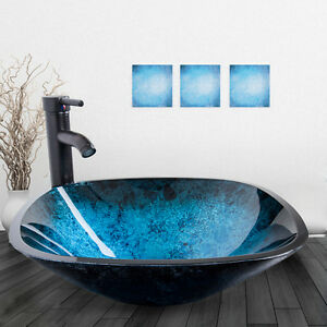 Square Bathroom Glass Vessel Sink Bowl Oil Rubbed Bronze Faucet Drain Combo