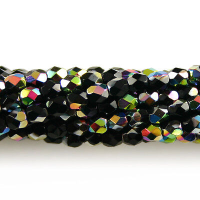 Jet Black Vitrail - 50 3mm Faceted Round Fire Polish Czech Glass Beads