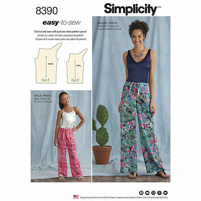 Pants Easy Pattern - S8390 Simplicity Sewing Pattern 8390 MIsses' Girls' Tie Front Pants EASY to SEW