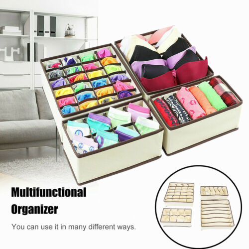 4pcs foldable organizer drawer storage box case