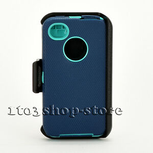 iPhone 4 4s Hard Case w/Holster Belt Clip fits Otterbox Defender Blue/Teal Green