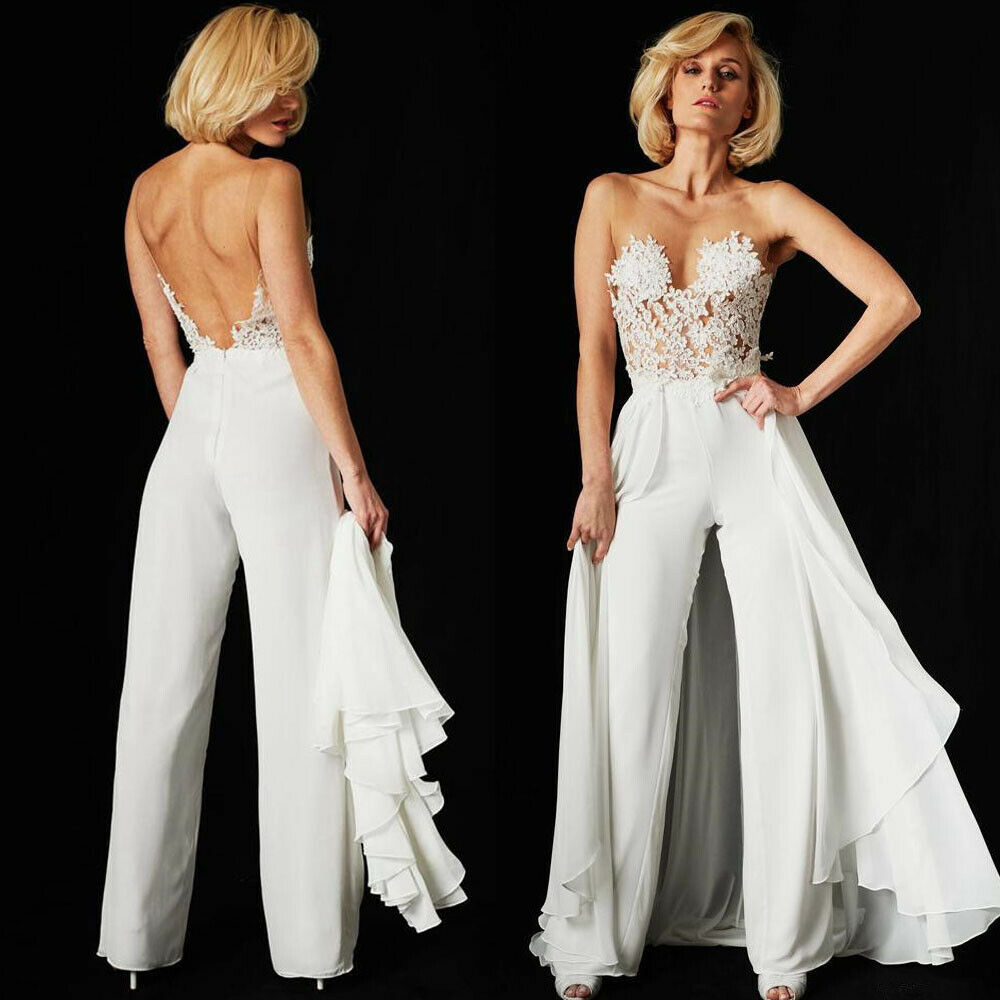 Wedding Pant Suits.Strapless Wedding Pant Suits Detachable Train Lace Top Women