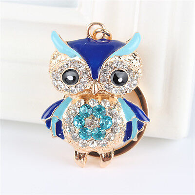 Blue Owl Bird Charm Pendant Rhinestone Crystal Key Ring Chain Gift Accesories