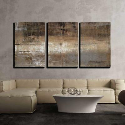 "Wall26 - Grey and Brown Abstract Art Painting- Canvas Wall Art- 16""x24""x3 Panels"