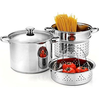 Stainless Steel Steam Pot 4 Pcs Spaghetti Pasta Cooker Steamer 8 Quart Cooking