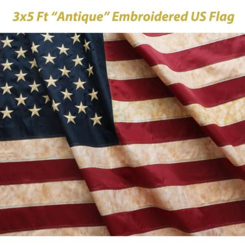 Anley [Vintage Style Tea Stained American US Flag 3x5 Foot N