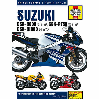 Suzuki GSX-R600 01-03 GSX-R750 00-03 GSX-R1000 01-02 Haynes Workshop Manual