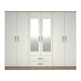 Classic wardrobe 4 you, 2,28m wide 6 door oak and white wardrobe