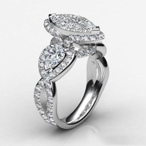 2.50ct Marquise White Diamond Engagement Ring In Solid 14k White Gold