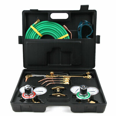 Portable Welding Cutting Kit Oxy Acetylene Oxygen Torch With Hose Case