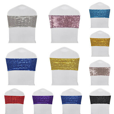 10/25/50/100pcs Spandex Sequin Chair Sashes Bow Band Cover Wedding Party Banquet - Wedding Chairs