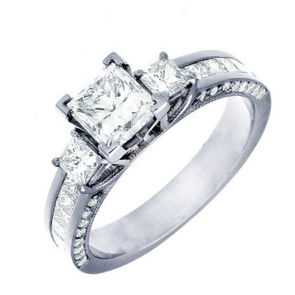 GIA Certified Diamond Engagement Ring 2.26 CTW Princess Cut 18k White Gold 1