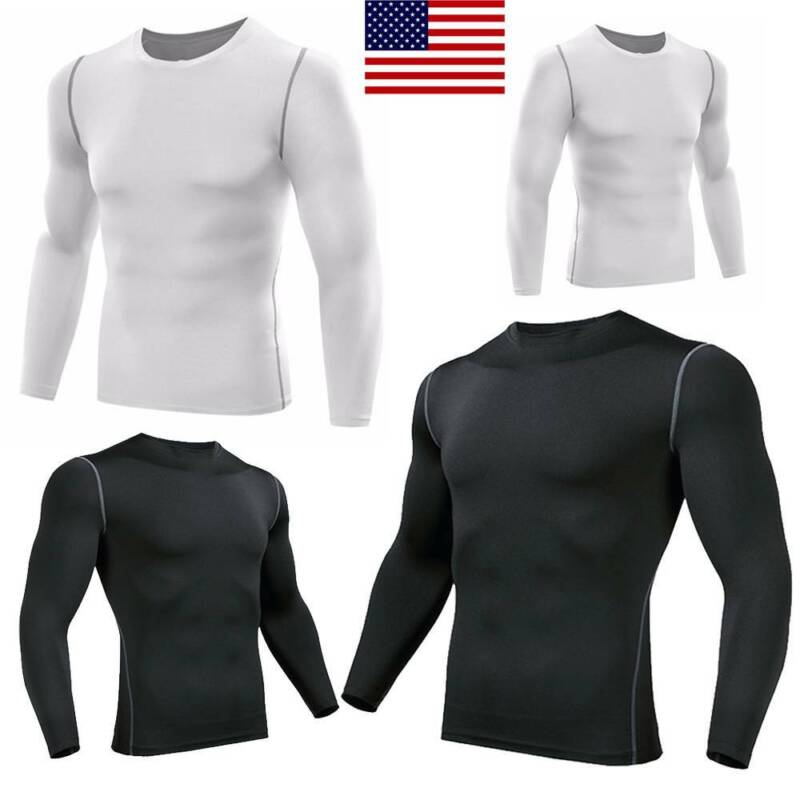 Details about  /Men Compression Sport Long Sleeve Base Layer Gym Thermal Workout Tops Shirts Hot