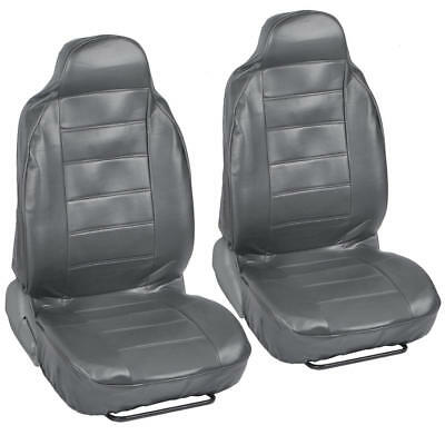 Pair of High Back Bucket Seat Covers in Gray Synthetic Leather 2pc Set ()