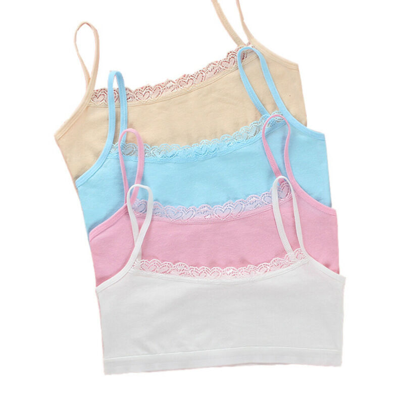 Young Girls Cotton Bra Puberty Teenage Soft Lace Underwear Training Bra 8-15Y w