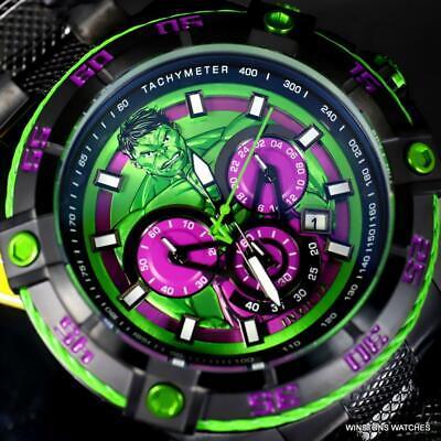 Invicta Speedway Viper Marvel Hulk Green Chronograph Black Steel Watch 52mm New