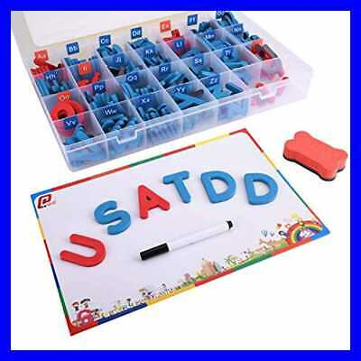 Magnetic Letters 208 Pcs W Board & Storage Box Uppercase Lowercase Alphabet Foam