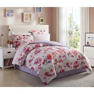 8-PC Complete Bed Set Comforter Pink Purple Floral Flowers King Queen Full (Twin Complete Bed)