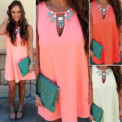 Womens Sexy Boho Short Mini Dresses Ladies Summer Beach Party Sundress Size 6-22