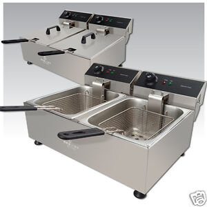Premier Range 20L Stainless Steel Commercial Twin Electric Deep Fat Chip Fryer