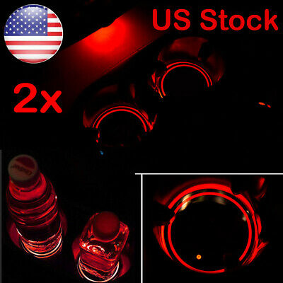 2x Solar Cup Pad Car Accessories LED Light Cover Interior Decoration Lights US for sale  Sayreville