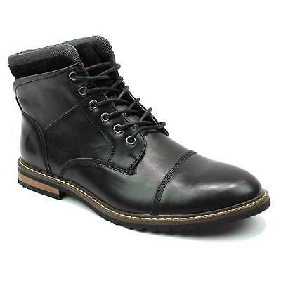 Mens Boot Black Ankle Cap Toe Derby Modern Lace Up Round Toe By AZAR MAN