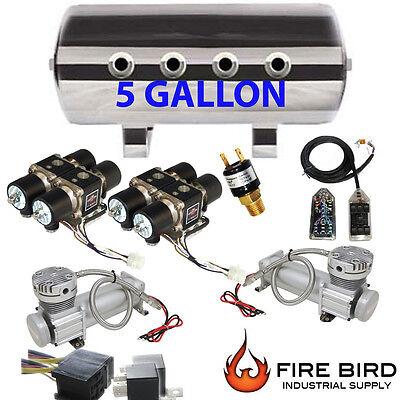 Air Ride Compressor Package Dual Voltairmaxx DC480 5 Gallon Storage Tank 8 xzx