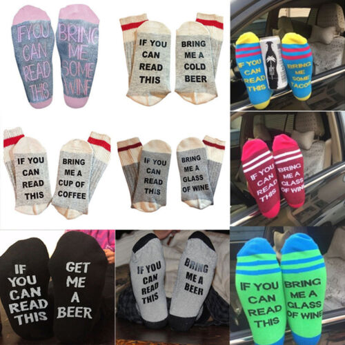 Amkun Chaussettes amusantes en coton Inscription If You Can Read This Bring Me Some Wine Beer Coffee Letter Print