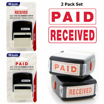 2pc Set Paid Received Pre-inked Rubber Stamp Red Ink Business Office Self Inking
