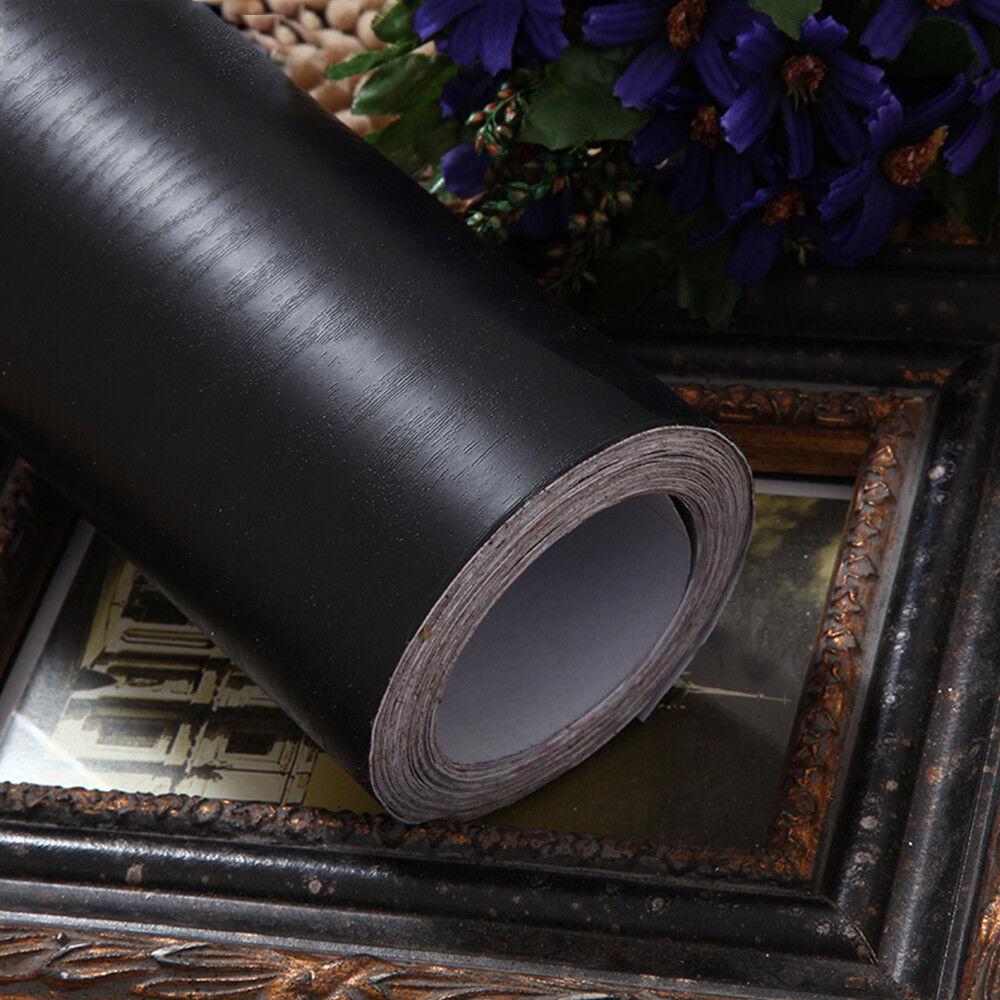 Black Wood Grain Self Adhesive Furniture Floor Vinyl Wallpap