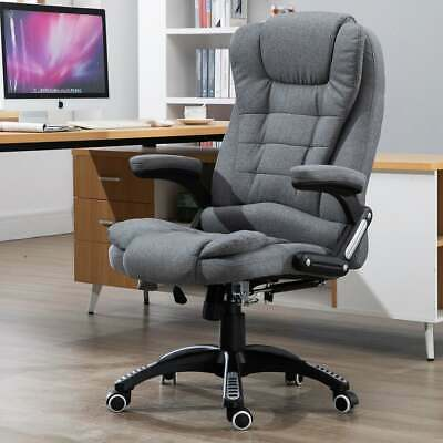 Massaging Reclinable Home Office Computer Desk Chair Upholstered Dark Grey