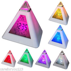 7 LED Changing Color Pyramid Triangle Digital LCD Alarm Desk Clock Thermometer
