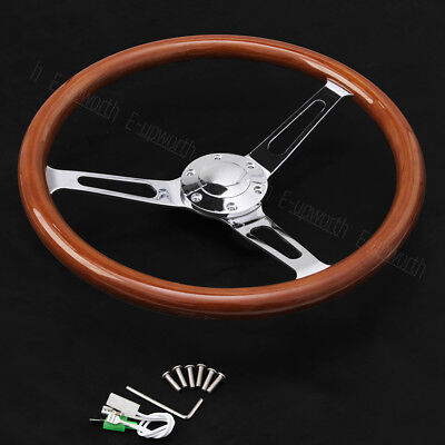 Wooden Grain Silver Brushed Spoke Steering Wheel classic Wood + Horn Kit 15inch