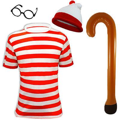 Herren Rot Weiß Gestreift Auflistung Hut T-Shirt Brillen Top Gehstock (Weißes Top Hut Kostüm)
