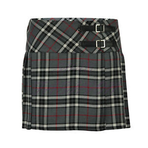 Ladies Womens Tartan Pleated Billie Kilt Skirt Leather Buckled Straps UK 6-14