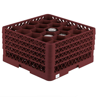 Commercial Dishwasher Glass Rack Max Full Size Burgundy 20 Compartment