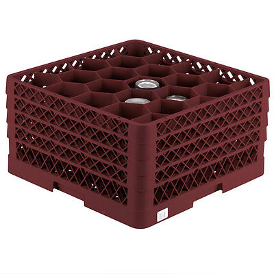 Commercial Dishwasher Glass Rack Max Full Size Burgundy 20 Compartment Wine